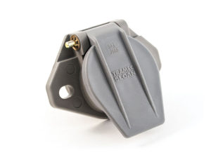 Small Style Two Hole Receptacle, 180° Connection, Solid Pin