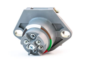 Small Style Two Hole Receptacle, 90° Connection, Solid Pin