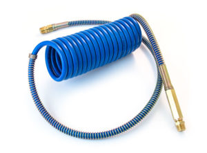 """Coiled Air with Brass Handle, 15' with 40"""" Lead, Blue"""