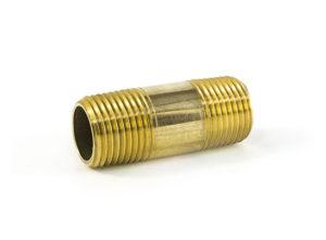 "Long Brass Nipple, 3"" Length, 3/8"""